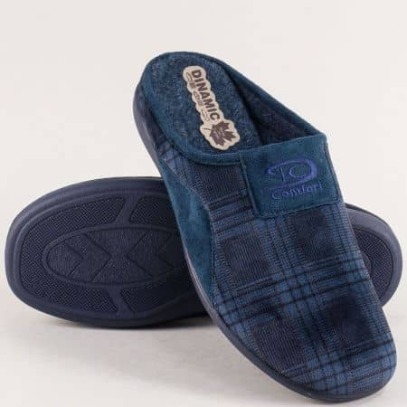 Мъжки домашни чехли в син цвят с принт каре- DINAMIC 511661s