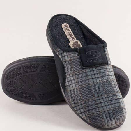 Сиви мъжки домашни пантофи с принт каре- DINAMIC 511661sv