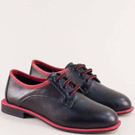 Дамски обувки от естествена кожа в черно и червено  511chchv