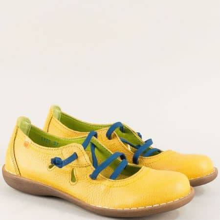 Жълти дамски обувки от със сини ластични връзки- Jungla 5120j