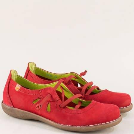 Червени дамски обувки с ластични връзки и прорези 5120nchv