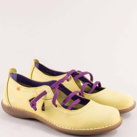Жълти дамски обувки с лилави ластични връзки- JUNGLA 5120nj