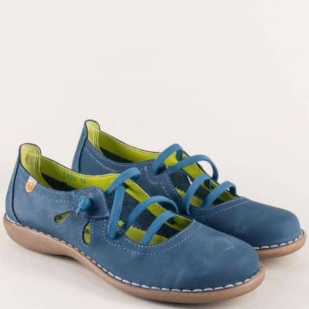 Анатомични дамски обувки от естествен набук в синьо 5120ns