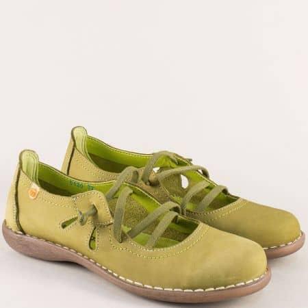 Зелени дамски обувки от естестсвен набук на шито ходило 5120nz