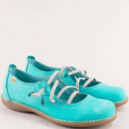 Зелени дамски обувки от естествен набук и каучук- Jungla 5120nz1