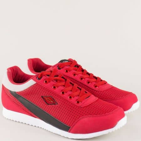 Мъжки маратонки в червен цвят на бяло ходило 512chv
