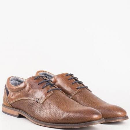 Мъжки елегантни обувки с връзки от кафява естествена кожа на немският производител S. Oliver 513200k