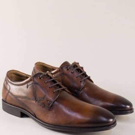 Тъмно кафяви мъжки обувки от естествена кожа- S.Oliver  513203kk