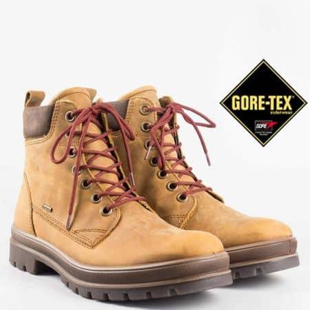 Немски мъжки боти в кафяв цвят от естествен набук с връзки , грайферно ходило и система против пропускане GORE-TEX 51321k