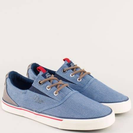 Спортни мъжки обувки с връзки и ластик в син цвят 51360420s
