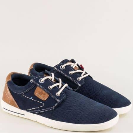 Мъжки обувки от естествен набук в син цвят- S. Oliver  513605s