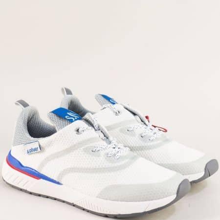 Мъжки спортни обувки в бяло с връзки- s.Oliver  513607b