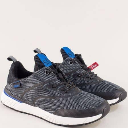 Мъжки маратонки с връзки в сиво и черно- S.Oliver  513607ch