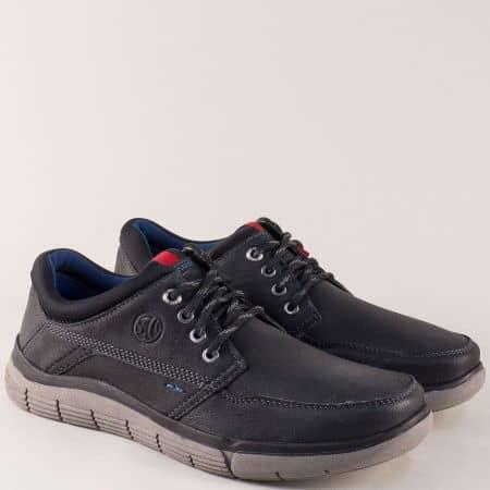Мъжки обувки от естествена кожа в черен цвят- S.Oliver  513618ch
