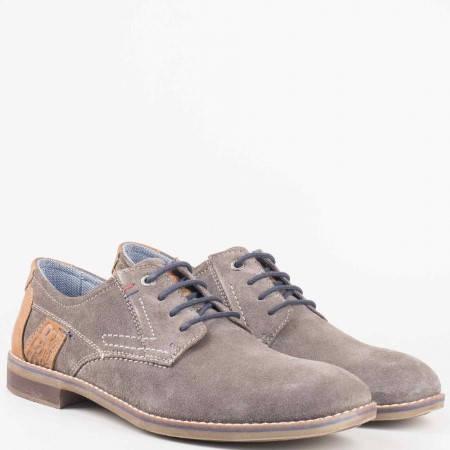 Мъжки фешън обувки с възки шити от естествен велур и кожа в сиво и кафяво- S. Oliver  513621vsv