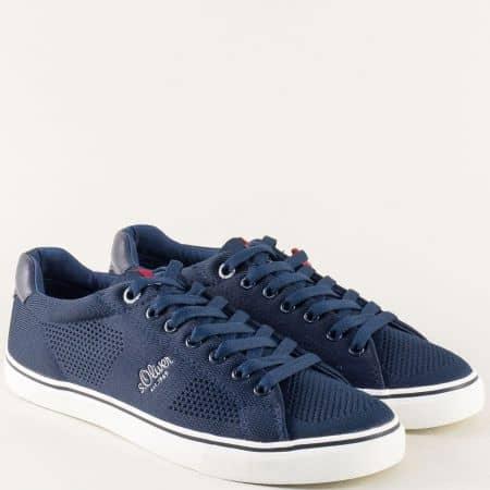 Тъмно сини мъжки кецове на бяло ходило- S.Oliver 513638s