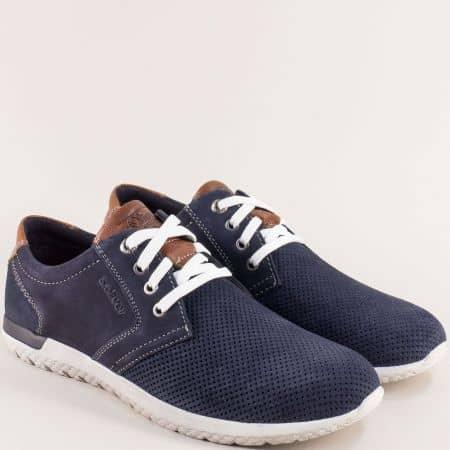 Сини мъжки обувки от естествен набук и велур- S.OLIVER 513644s