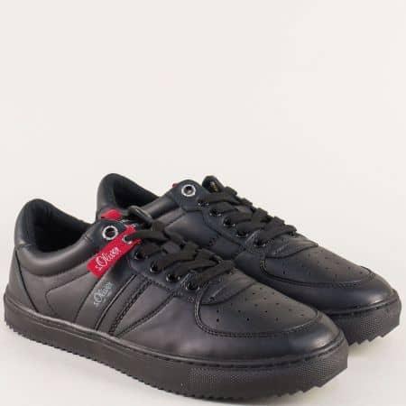 Спортни мъжки обувки с връзки в черен цвят- S.Oliver  513645ch