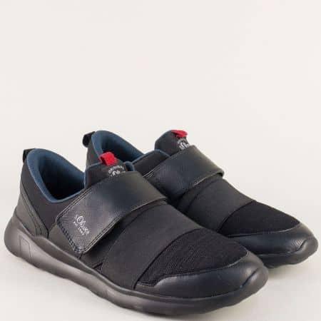 Мъжки маратонки с ластик и лепка в черен цвят- S.Oliver  514605ch