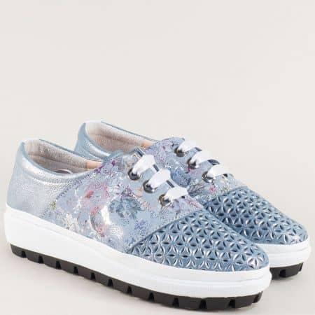 Светло сини дамски обувки с кожена стелка и връзки 514ss