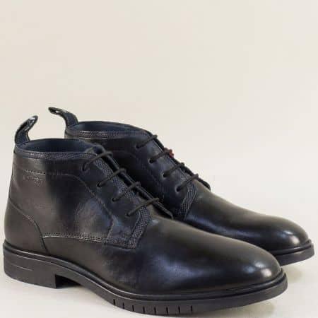 Черни мъжки боти с връзки от естествена кожа- S. Oliver 515100ch