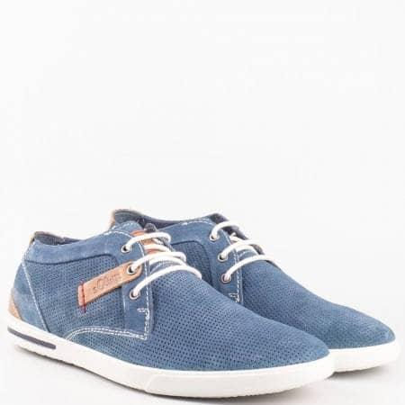 Мъжки ежедневни обувки на комфортно ходило с кожена стелка от висококачествен естествен велур на немската марка s.Oliver  515107vs