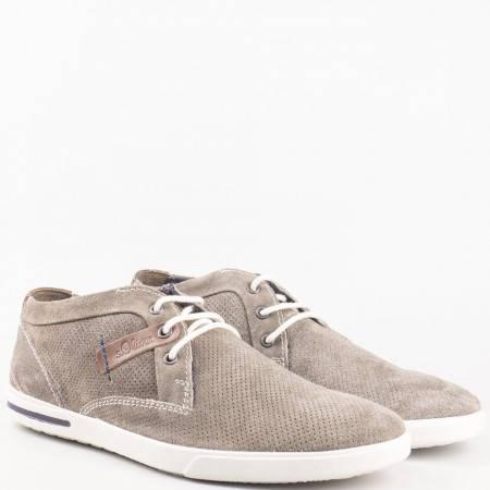 Мъжки комфортни обувки за всеки ден изработени от висококачествен естествен велур с кожена стелка на немския производител s.Oliver  515107vsv