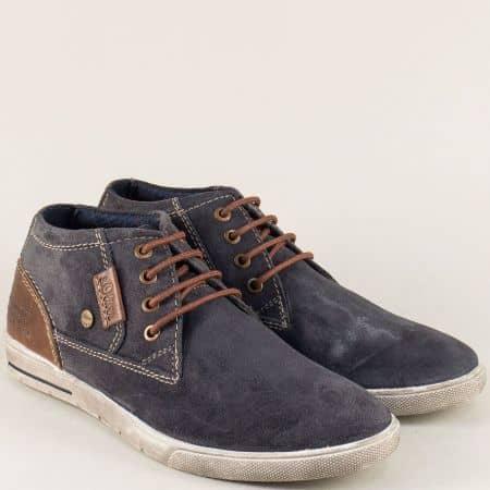 Велурени мъжки обувки S. Oliver в сив цвят на равно ходило 515200vs