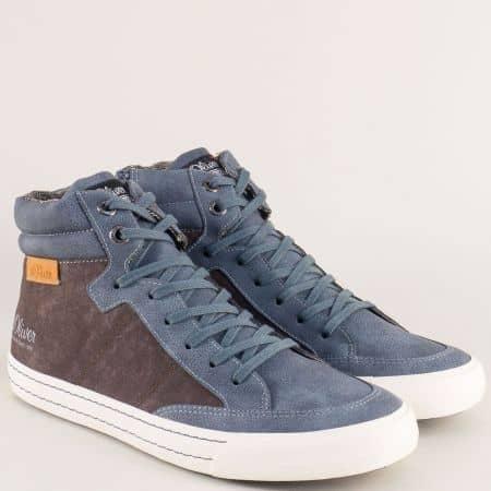 Шити мъжки спортни обувки в син цвят с връзки и цип 515207s