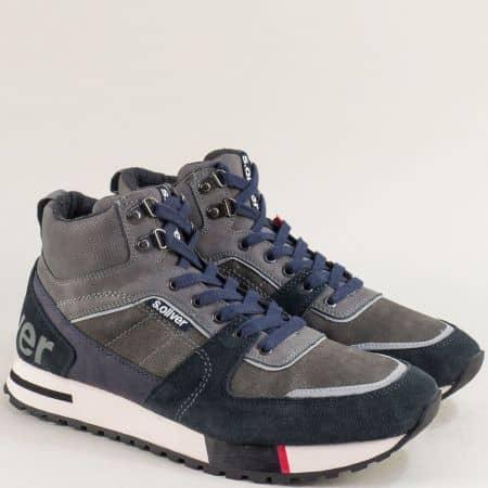 Високи мъжки маратонки с връзки в сив цвят- S. Oliver  515221vs