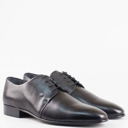 Мъжки качествени обувки в черен цвят с връзки от естествена кожа 516021ch