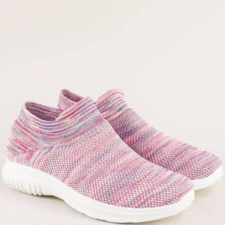 Спортни дамски обувки в розов цвят на бяло ходило 5161-40rz