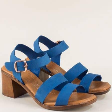 Дамски сандали на висок ток от естествена кожа в син цвят 5203s