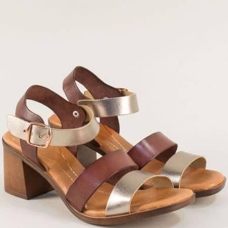 Кожени дамски сандали на висок ток в кафяво и златно 5204zlk