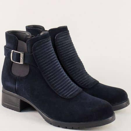 Тъмно сини дамски боти на нисък ток от естествен велур 5210vs