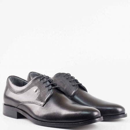 Мъжка черна официална обувка с връзки от естествена кожа  522001ch
