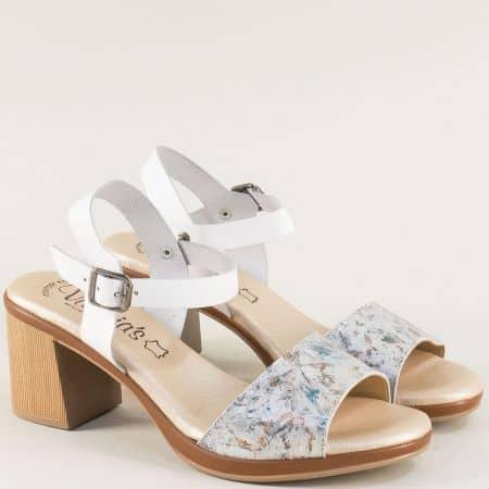 Бели дамски сандали с мека кожена стелка и висок ток  5220bps