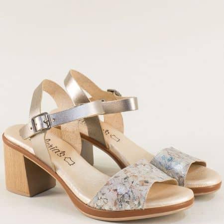 Златни дамски сандали на висок ток от естествена кожа 5220zlps