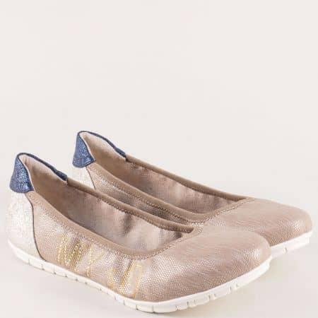 Кафяви дамски обувки, тип балерини от естествена кожа 522100k