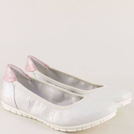 Равни дамски обувки, тип балерини в сив цвят- S. Oliver  522100sv