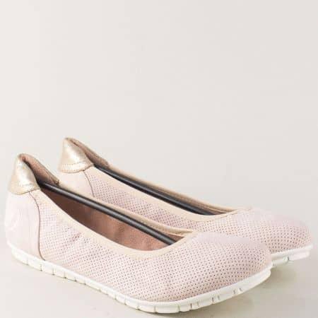 Нежно розови дамски обувки на комфортно ходило 522119nrz