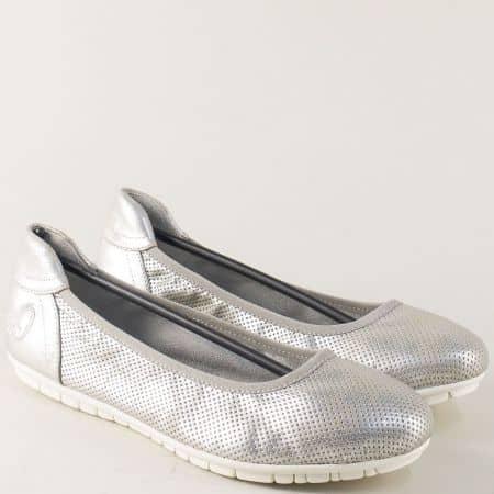 Сребристи дамски обувки с перфорация- S. Oliver  522119sr
