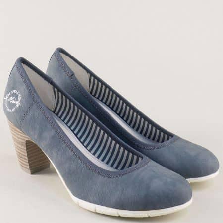 Дамски обувки на висок ток в син цвят- S.Oliver  522405s