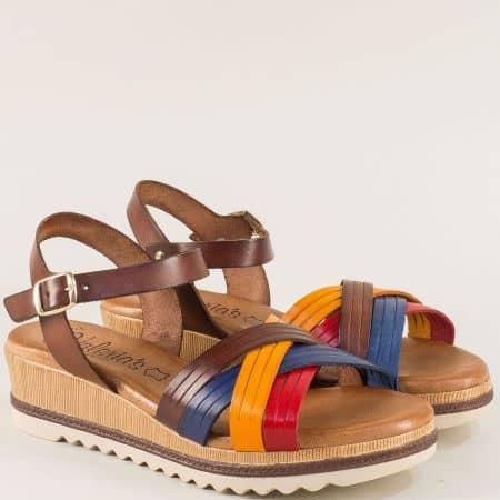 Дамски сандали в оранж, червено, синьо и тъмно кафяво 52250kkps
