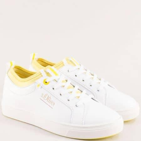 Равни дамски кецове с връзки в бяло и жълто- S. Oliver  523603b