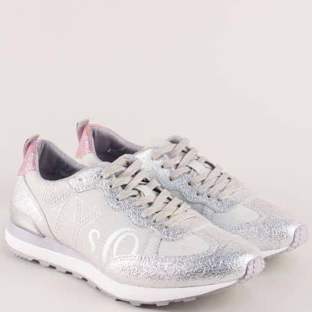 Сребърни дамски маратонки с връзки- S. Oliver  523606sr