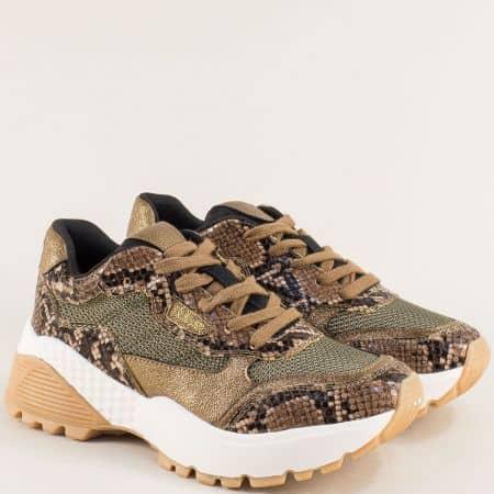 Кафяви дамски маратонки със змииски принт- S. Oliver  523610zk