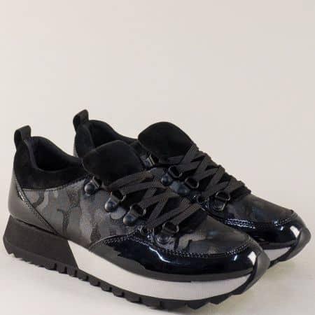 Дамски маратонки в черен цвят с връзки и Memory пяна 523612ch