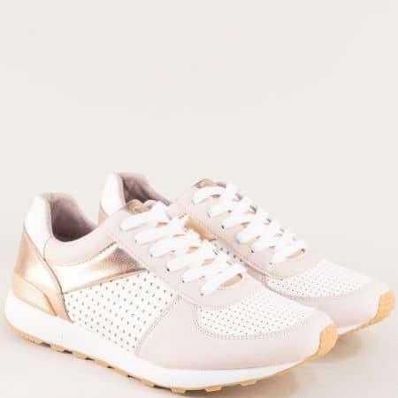 Дамски маратонки в бяло, розово и златно с Memory пяна 523614rz