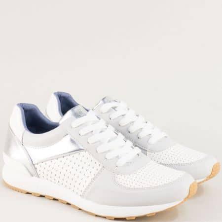 Дамски маратонки с връзки в бяло и сребро- S. Oliver  523614sr